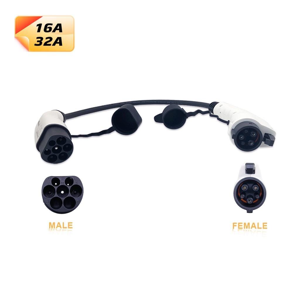Duosida EV adaptador SAE J1772 Tipo 1 conector a Tipo 2 enchufe macho 16a 32a carga de vehículos eléctricos