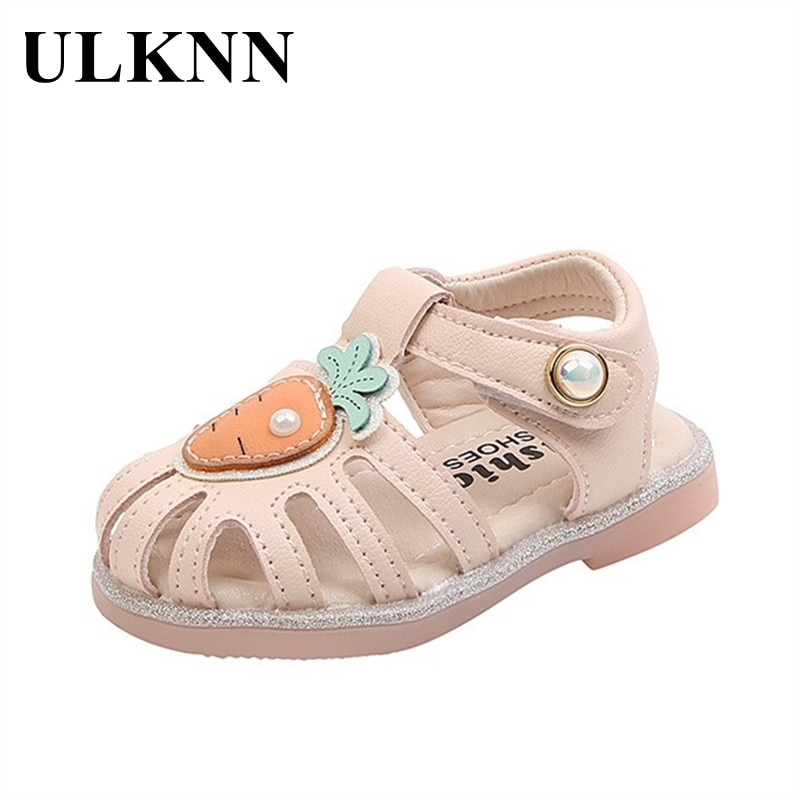 ULKNN Baby Sandals Summer Children's Shoes Boys Non-open Toe Soft Sole Baby Shoes Toddlers Non-slip Cute Pearl Girl Princess New