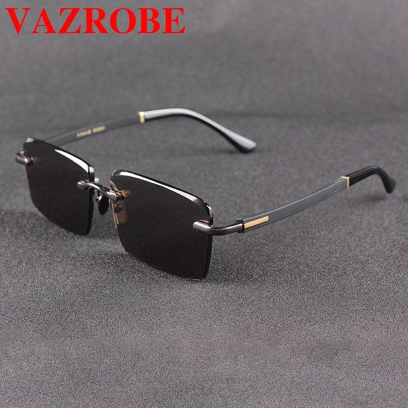 Vazrobe زجاج النظارات الشمسية الرجال بدون إطار نظارات شمسية للرجل حجر الكريستال البني عدسة مكافحة العين الجافة كبار السن نظارات مكافحة خدش
