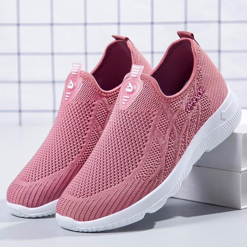 Zapatillas deportivas con cordones para Mujer, zapatos planos de malla transpirable a...