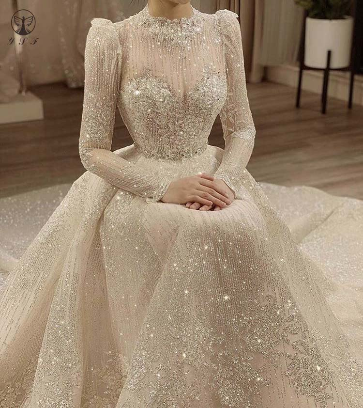 فستان عتيق من Vestidos De Novias بياقة عالية وياقة على شكل حرف O من القماش اللامع بأكمام طويلة وفساتين زفاف إسلامية