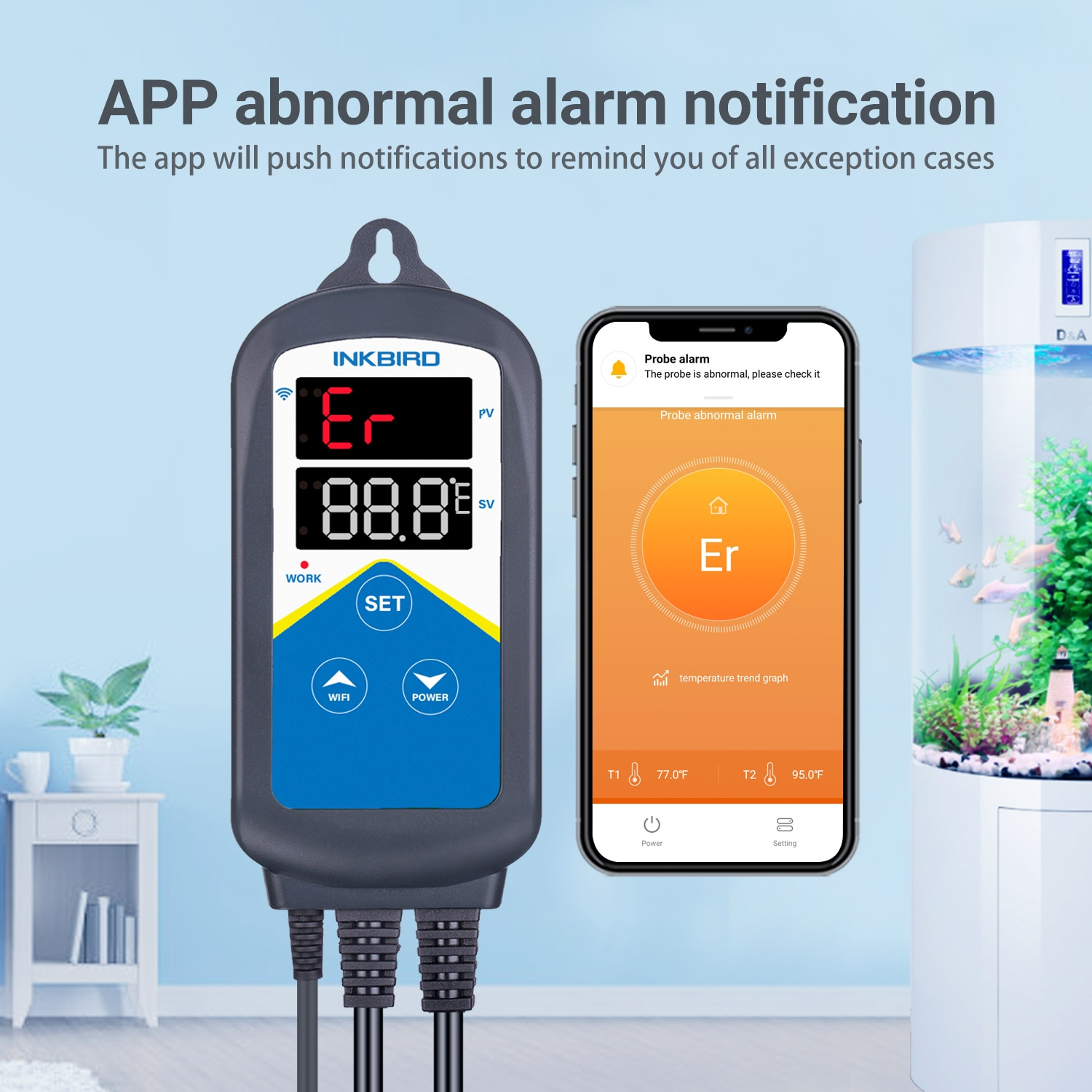 Wi-Fi Temperature Controller With External Aquarium Dual Probe Inkbird ITC-306A Accurate Reading Themostat For Household Indoor