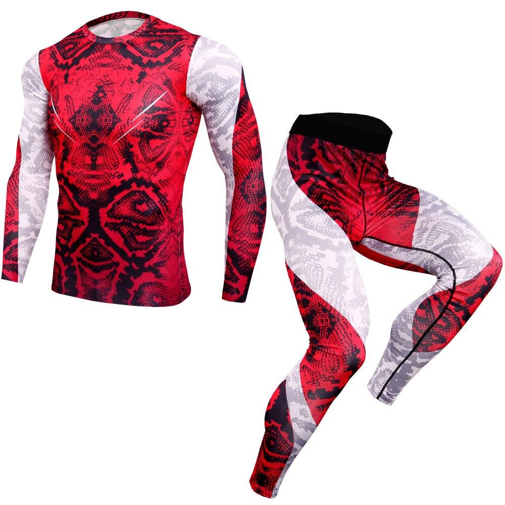 Nuevo traje deportivo para hombre, camisetas de manga larga, pantalones de compresión MMA, conjunto para correr, para culturismo, Rashguard, gimnasio, chándal de Fitness