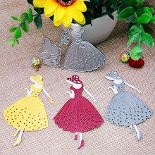 Troqueles de corte para mujer, vestido de plantilla de acero al carbono artesanal para álbum de recortes creativo DIY, sellos de corte, troqueles de papel gofrado, cumpleaños, 94x68mm