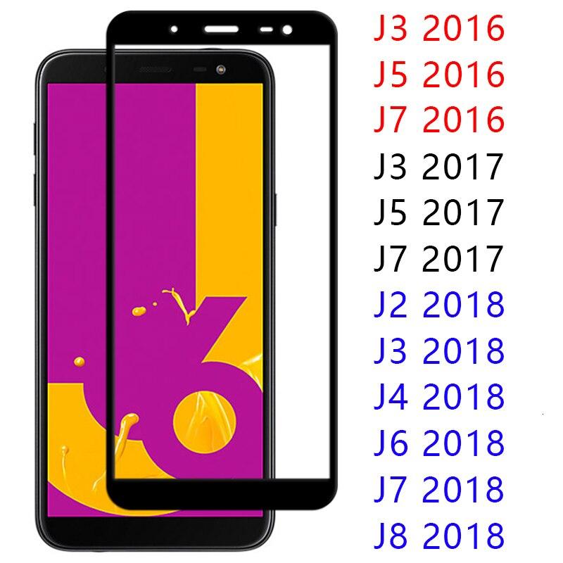Caso para Samsung Galaxy J8 J7 J6 J4 J3 J2 Pro J5 de templado de vidrio de la cubierta completa Protector de pantalla J 2 3 4 5 6 7 8 9h