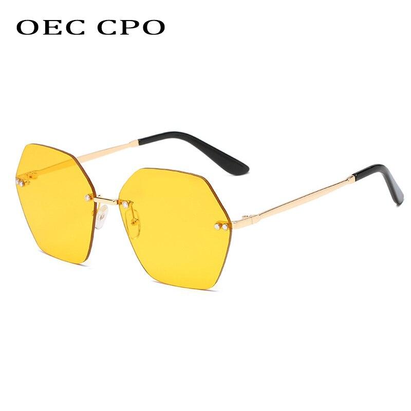 Солнцезащитные очки OEC без оправы для мужчин и женщин, модные брендовые дизайнерские металлические квадратные солнечные очки в винтажном с...