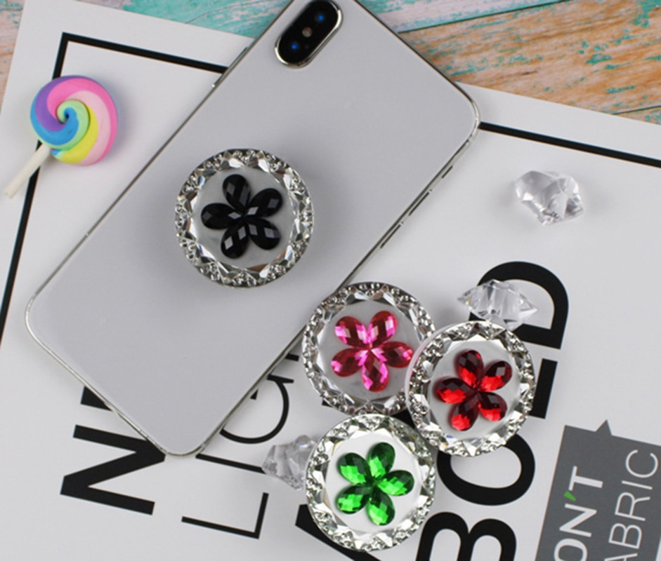 30 pçs universal dedo titular aperto para tablet ipad smartphone iphone samsung huawei xiaomi diamante flor suporte soquete