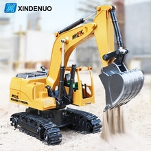 8CH Alloy Bucket Excavator RC Truck with Musical and Light Kids Gift 360 ° rotating Radio Controlle