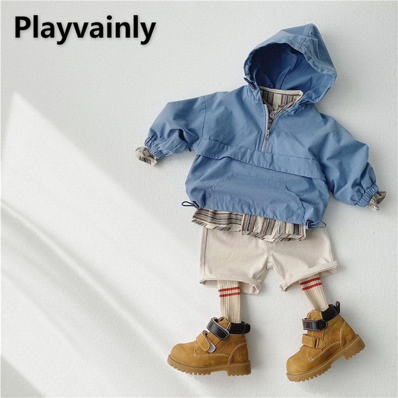 Children Trench Coat 2021 Baby Boys Girls Casual Coat Windproof hooded top Boy Girl Clothes E100186