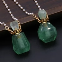 natural stone crystal necklace faceted perfume bottle pendants gold color pearl chain necklace jewelry for women party gifts
