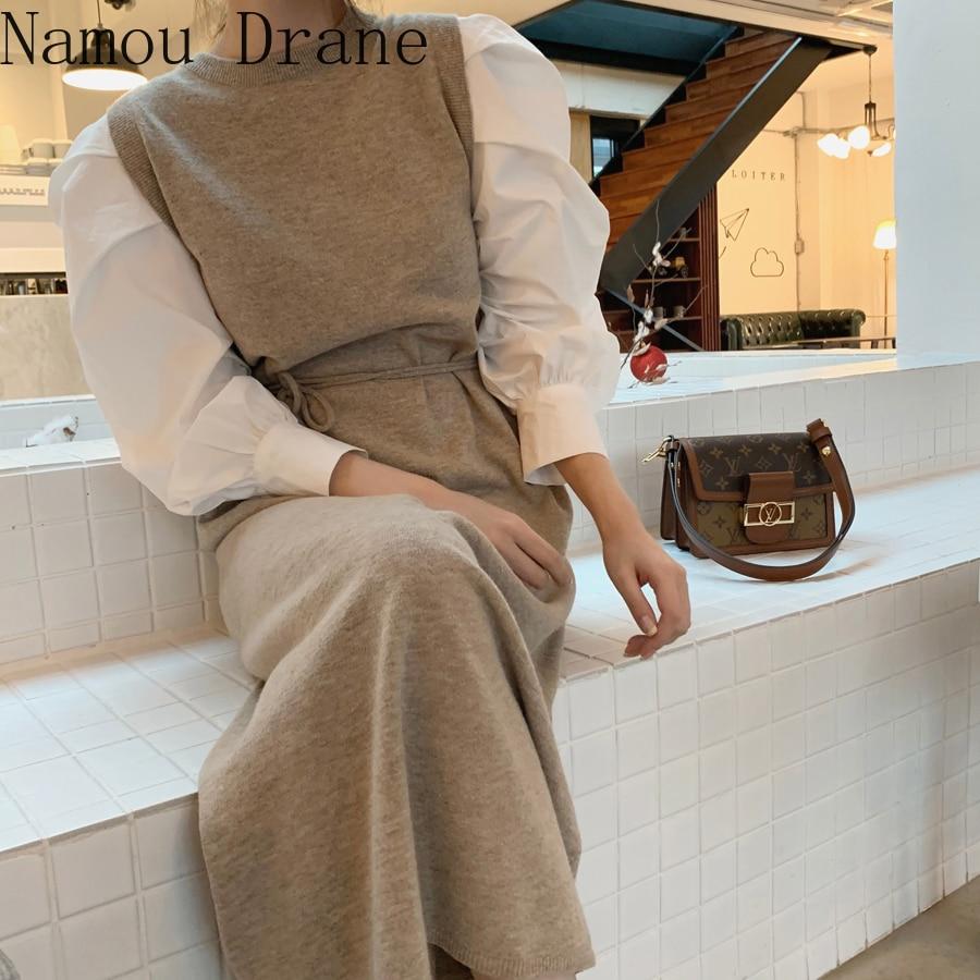 Outono womn vestido longo estilo coreano vintage longf manga o pescoço o-pescoço de cintura alta senhoras vestidos elegantes plus size