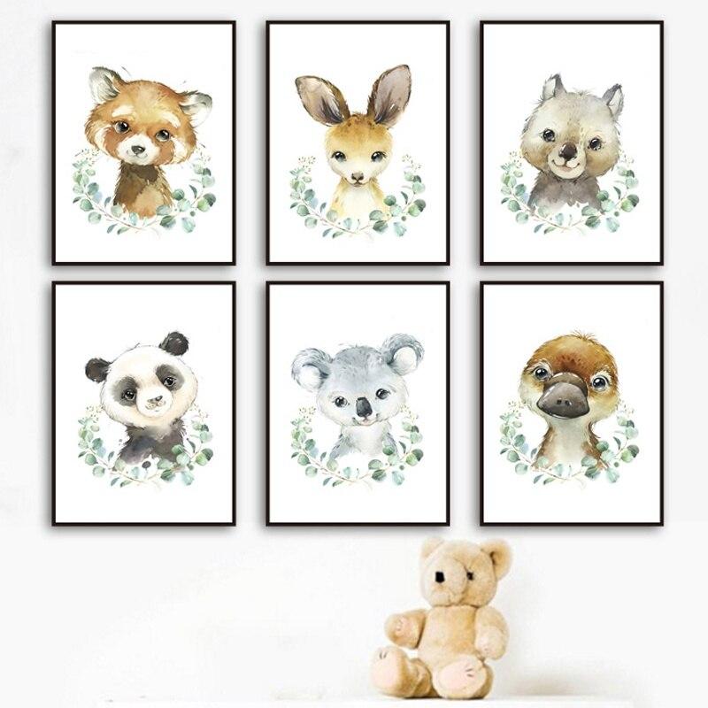 Cuadro sobre lienzo para pared carteles nórdicos e impresiones cuadros de pared para niños y bebés con hojas verdes canguro Koala mapache Panda
