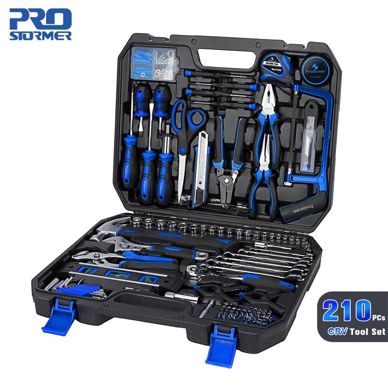 PROSTORMER 210PC Set Car Repair Hand Tool Saw Ratchet Wrench Sleeve Pliers Saw Manual Full Professional Repair Tool Kit