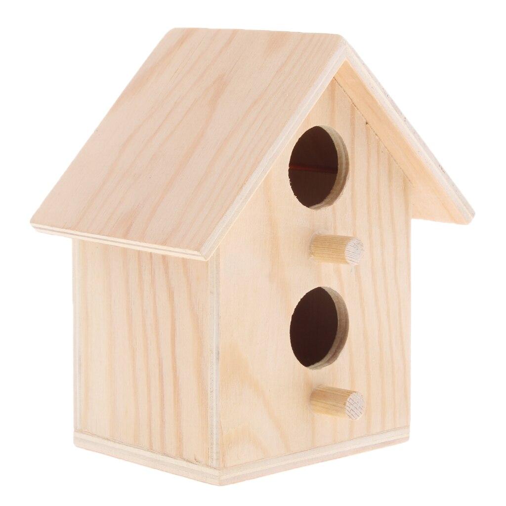 Casa de pájaros-jaula de madera en bruto perca cabaña-cabaña de madera pajarera para pájaros