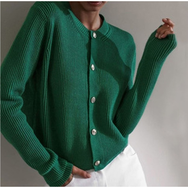 2021 Women's Fashion New Solid Color Knitted Cardigan Coat Loose Large Versatile Single Breasted Coat Women's Sweater