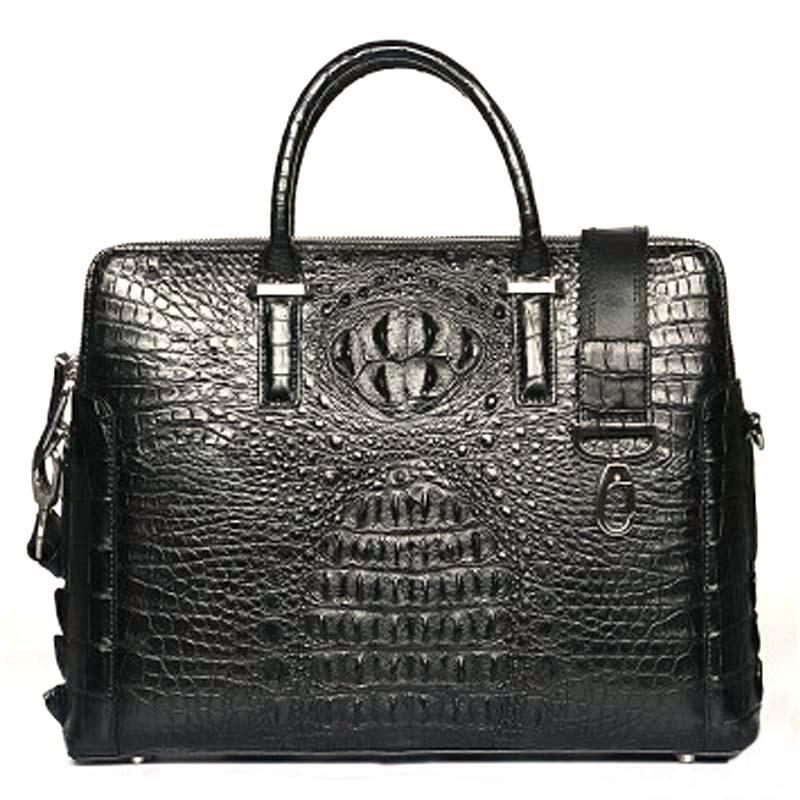 luodungongniu New men Business male briefcase  large capacity double zipper crocodile leather laptop men crocodile handbag