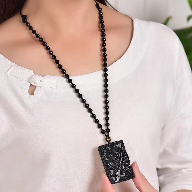 Black Obsidian  Necklace Pendant Guan gong dragon Pendant Jade Jewelry Fine Jewelry
