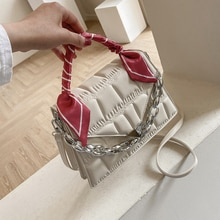 Designer Silk Scarf Leather Chain Handbags Shoulder Bags for Women 2021 Summer New Fashion Luxury Sm