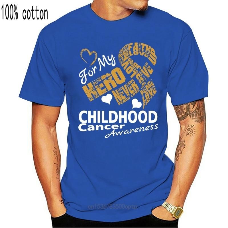 New 100% cotton o-neck custom printed T shirt Love for my Hero CHILDHOOD Cancer Awareness Ribbon T Shirt
