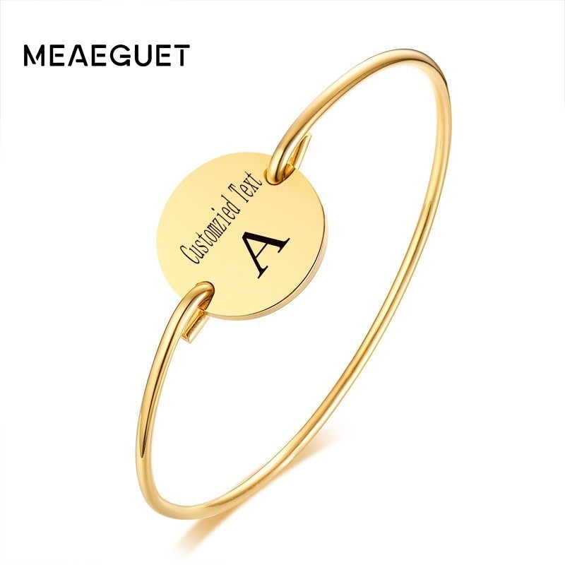 Pulsera personalizada para mujer, brazalete de acero inoxidable, pequeño, redondo, personalizado, inicial, Color dorado, joyería creativa