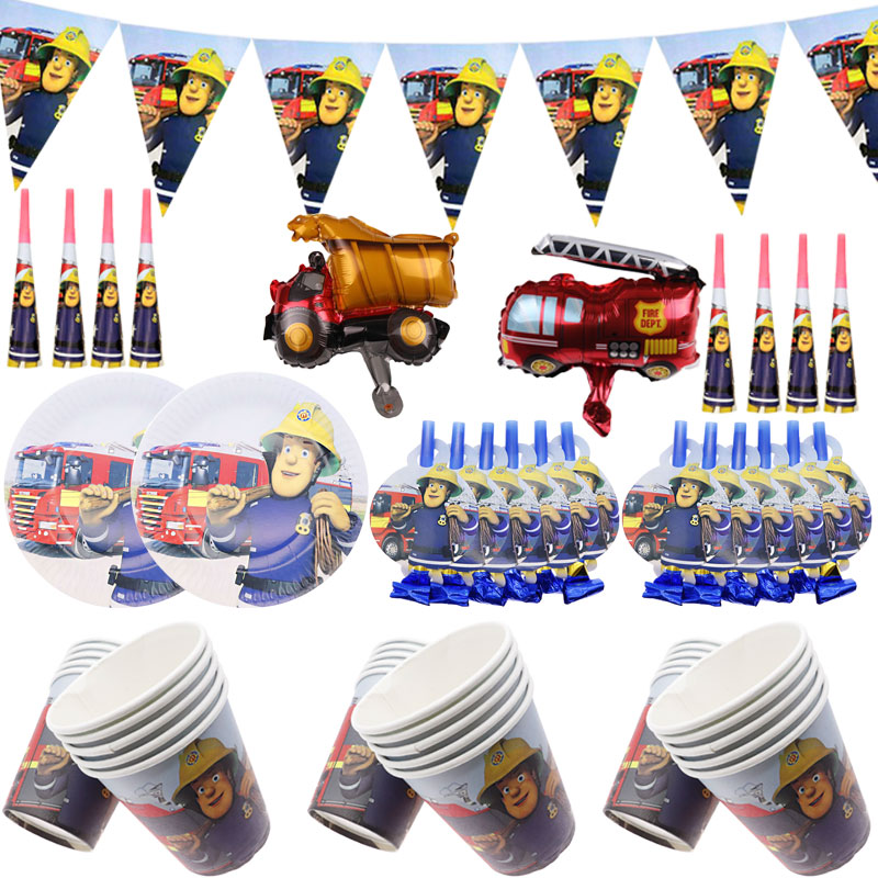 Бумажная тарелка пожарного Сэма из мультфильма, вечерние принадлежности пожарного, одноразовые столовые приборы на день рождения, Рождество