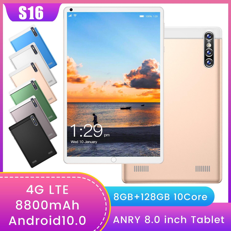 [نماذج الأكثر مبيعا] S16 4G الكمبيوتر اللوحي ، رقيقة جدا 8.0 بوصة الشاشة ، كامل نيتكوم ، 13.0MP كاميرا خلفية 8800mAh أندرويد 10.0 أقراص