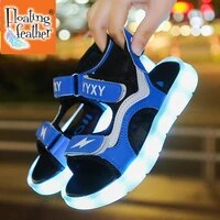 size 25 35 boys non slip glowing shoes girls usb charging luminous shoes unisex led light up sandals children breathable sandals