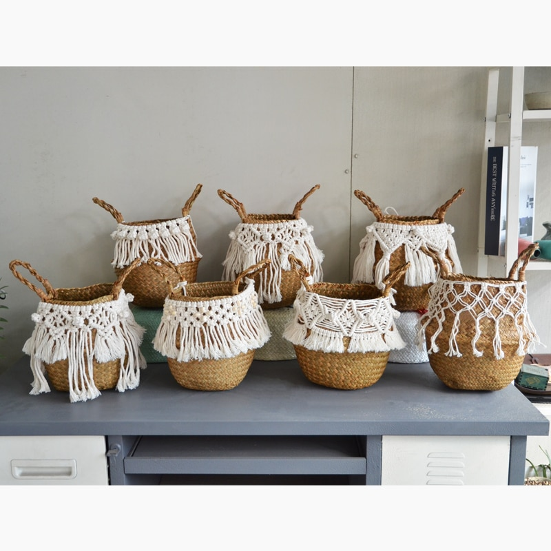 Seagrass white basket for decoration laundry basket  woven basket  gift basket handmade tassel Vase