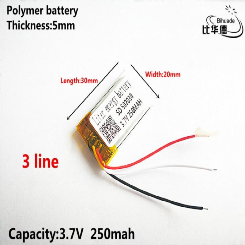 3 линии хорошее качество 3,7 В, 250 мА · ч, 502030 полимерный литий-ионный/литий-ионный аккумулятор для игрушек, банка питания, GPS, mp3, mp4