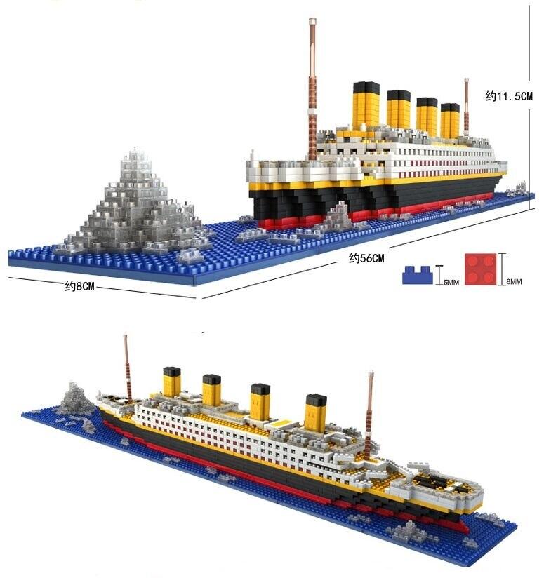 1860 Uds. No Lepining RMS Titanic crucero barco modelo DIY diamante bloques ladrillos Kit niños juguetes regalos Loz