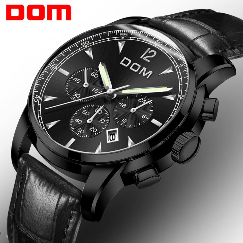 ¡Novedad de 2018! relojes DOM para hombre con cronógrafo de lujo, relojes deportivos para hombre, relojes de cuarzo de acero resistente al agua, relojes Relogio M-75D-1MPE