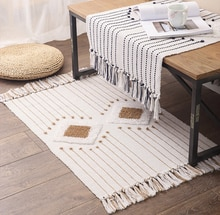 Tapis de coton tapis diamant tufté paillasson Boho géométrique glands petits tapis lavable en Machine frange avec tapis antidérapant tapis de salle de bain