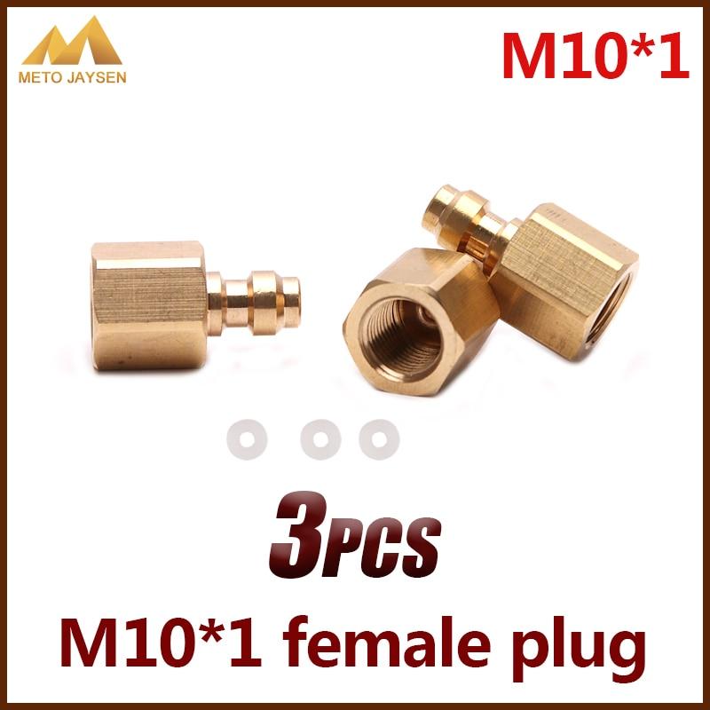 M10x1 8mm tomada fêmea pcp airforce paintball cobre rápida acoplador conector acessórios 3 pçs/set