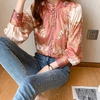 long sleeve printed shirt women 2021 spring new high end retro stand collar all match commuter casual top