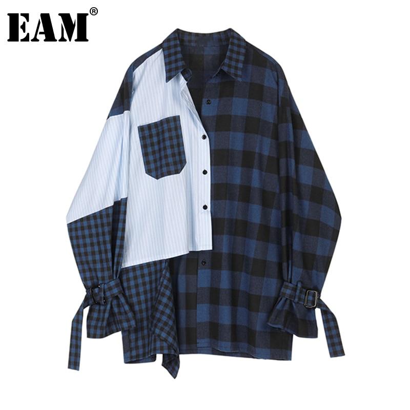 [EAM] بلوزة نسائية بمقاس كبير مخططة باللون الأزرق الداكن قميص مناسب بأكمام طويلة وطية صدر جديدة مناسبة لفصل الربيع والخريف 2021 1Z254