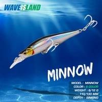 waveisland bait mino 9g 12g simulation fake baits hard minnow winter fishing lure sinking saltwater lures for black bass fish