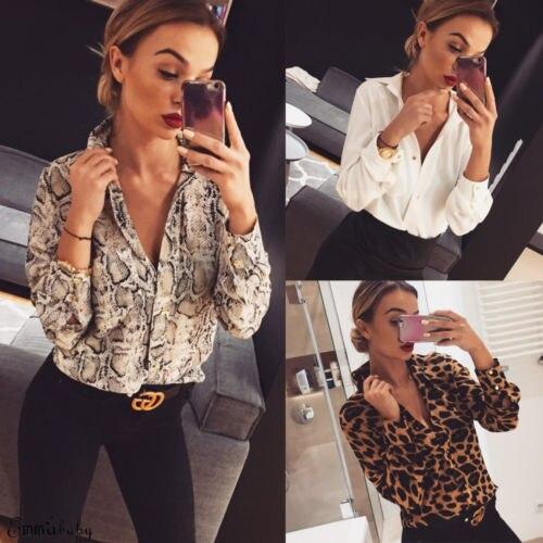 Yeni sıcak moda seksi yılan cilt leopar baskılı bluz kadınlar zarif v yaka gevşek uzun kollu gömlek Tops Casual Streetwear