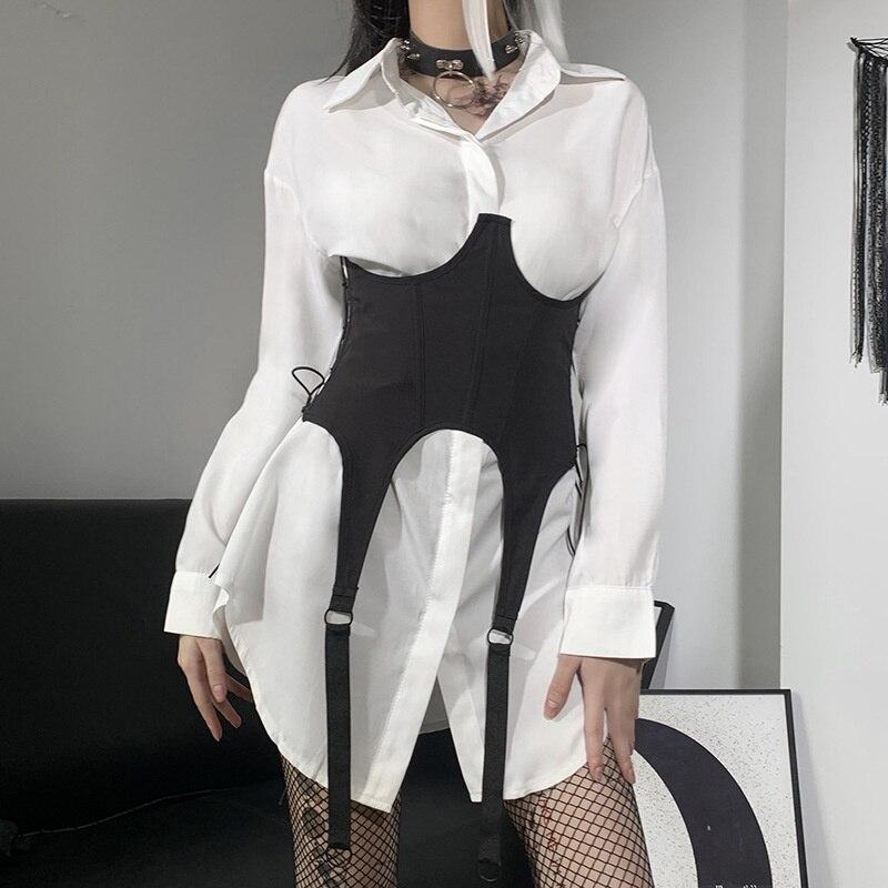 Dark Gothic Black Corset Women Harajuku Streetwear Bandage Hollow Out Beauty Wide Belt Mall Goth Emo