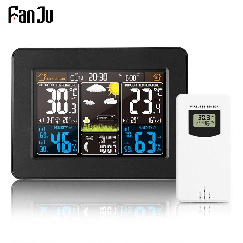 FanJu FJ3365 Weather Station Air Pressure Forecast Alarm Indoor Outdoor Thermometer Hygrometer Wireless Multifunction Clock