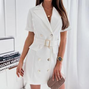 Short Dress Double-breasted Breathable Mini Ladies Wide Belt Metal Buckle Lapel Dress for Party Short Dress