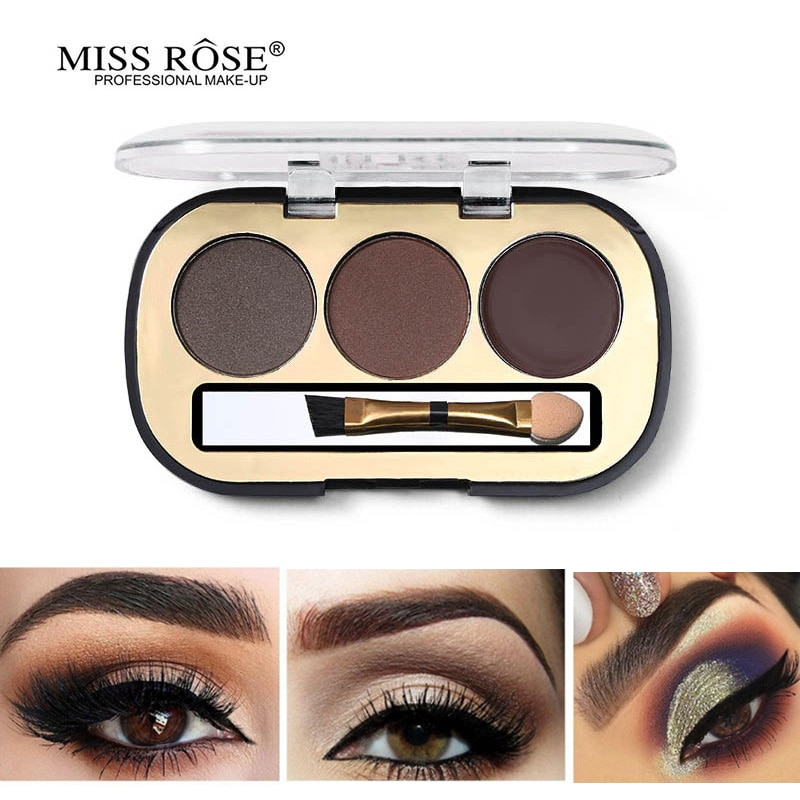 Kit de potenciadores de cejas Miss Rose en 3 colores con paleta de pinceles tatuaje ceja crema polvo para cejas maquillaje 3D Natural de larga duración