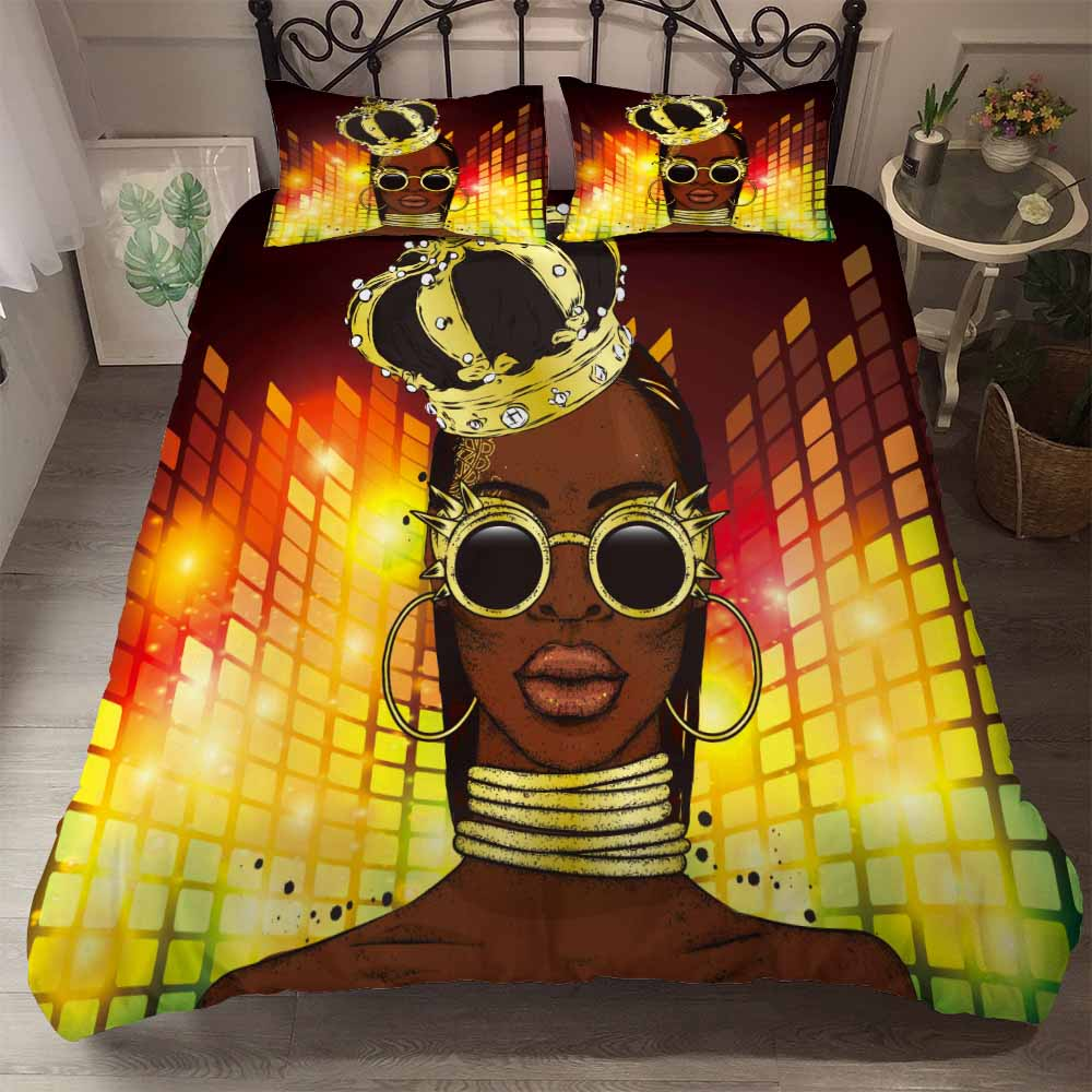 African Beauty Printed Bedding Set Popular Fashion Duvet Cover Set for Adults Kids Gift Bed Set Queen King Size Quilt Cover Sets