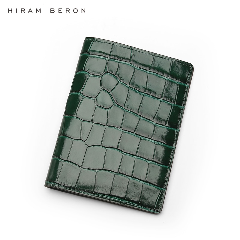 Hiram Beron Personalized Passport Cover Anti RFID Leather Embossed Crocodile Pattern Luxury Wallet Dropship