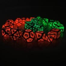 Rollooo Gloeiende Jade Metalen Dobbelstenen Set Glow In The Dark D4 D6 D8 D10 D % D12 D20 Voor Rol spelen D & D Mtg Games