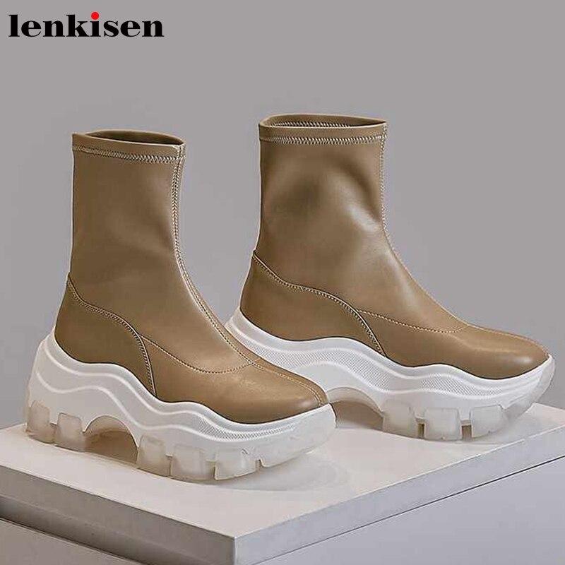 Lenkisen Internet estrela estiramento botas de fundo grosso couro de vaca dedo do pé redondo sapatos de salto alto ankle boots de inverno mulheres casual simples L2f7