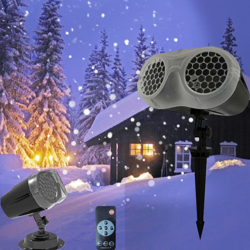 LED Snowflake Projector White Snowstorm Stage Light Remote Control Waterproof Garden Lawn Lamp for Holiday Party Garden Decor kmashi snowflake lamp sparkling landscape projector waterproof decor spotlights garden tree wall christmas holiday lighting eu