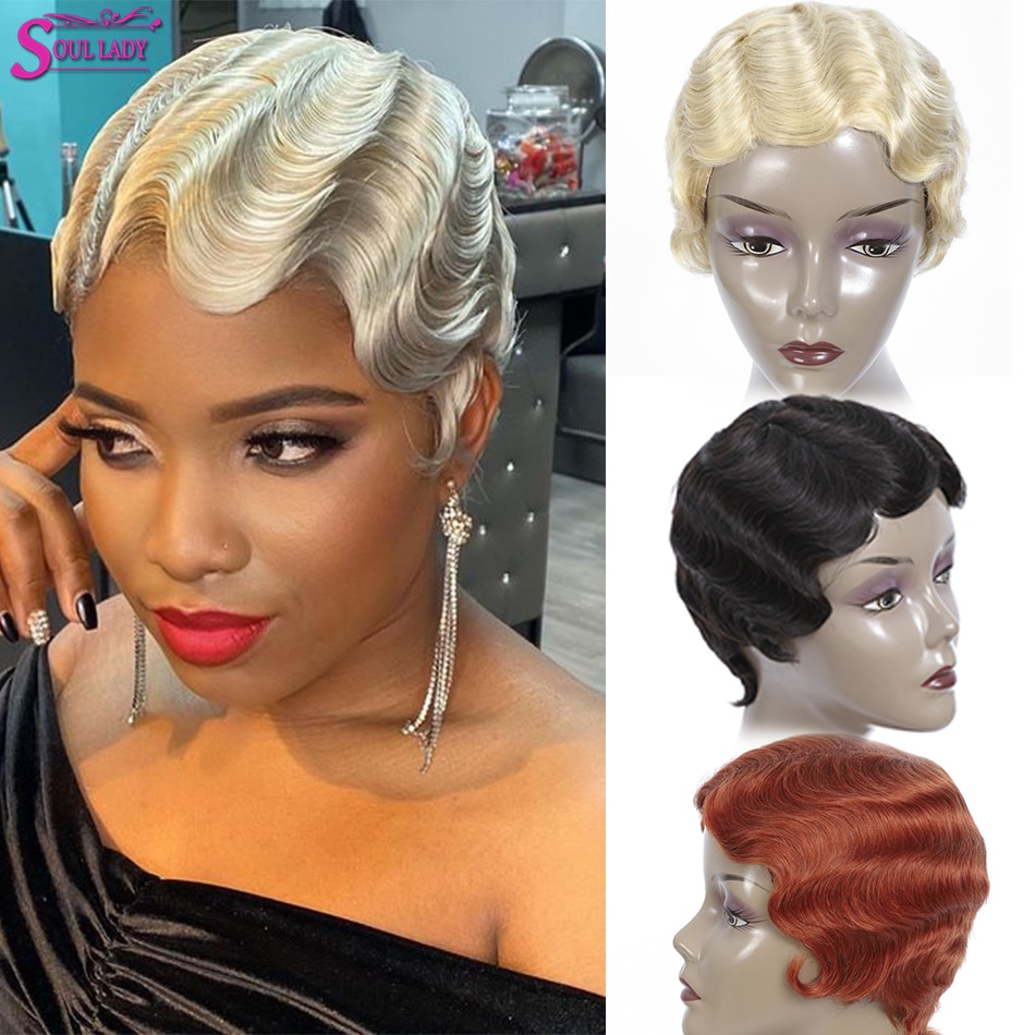 Soul Lady Finger Wave Wigs Cheap Brazilian Short Pixie Cut Human Hair Wig 613 Blonde Red Orange Brown # 27 30 33 350 Mix Color