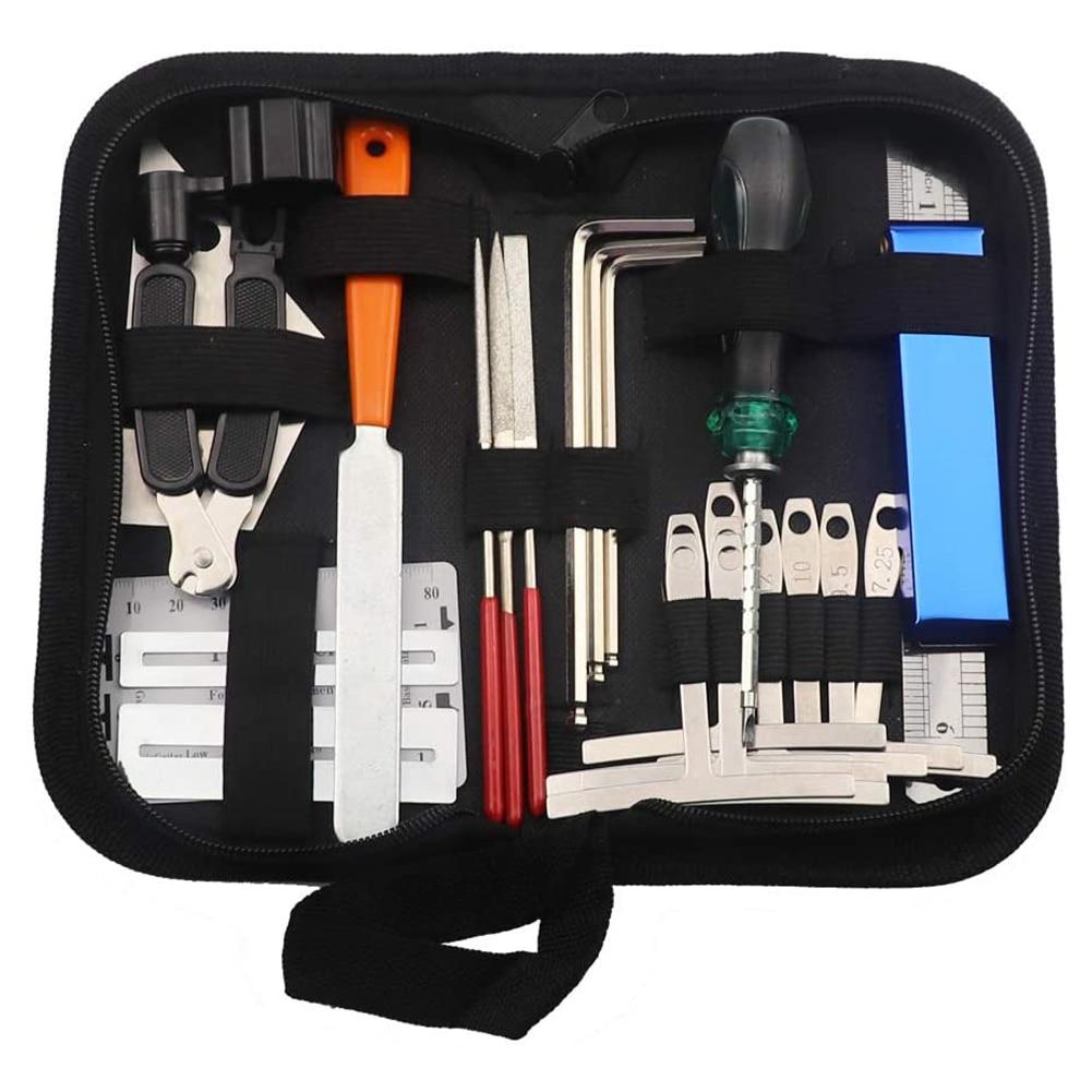 25PCS Guitar Tool Kit Repairing Maintenance Tools String Organizer String Action Ruler Gauge Measuring Tool Hex Wrench Set Files enlarge