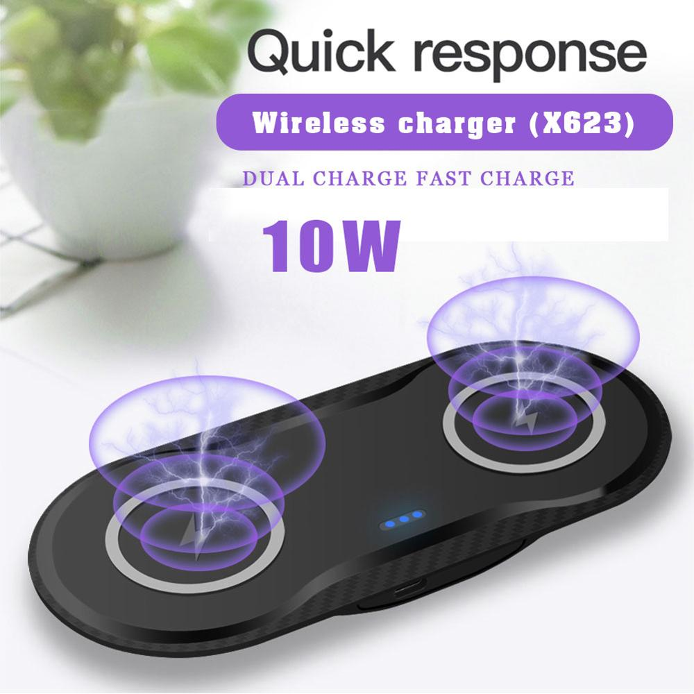 Almohadilla de carga inalámbrica Qi doble de 20W para iPhone 11 XS XR X 8 AirPods, estación de carga Dual rápida de 10W para Samsung S10 S9 Note 9