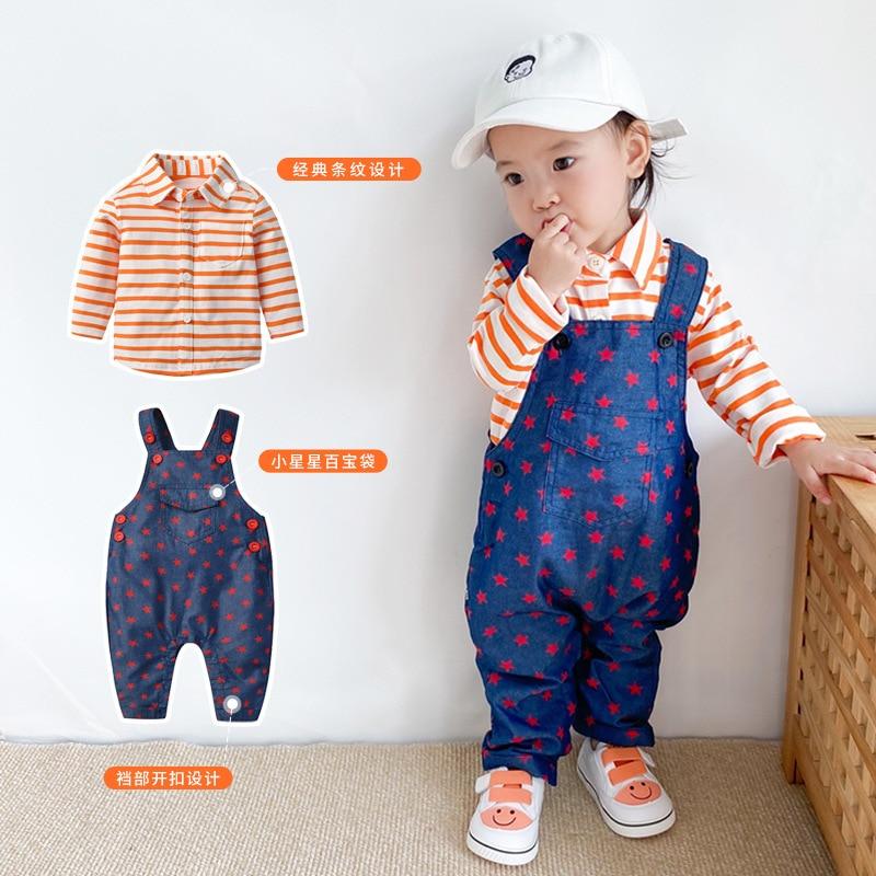 Yg Brand Children's Wear, 2021 New Spring And Autumn Stripe Lapel Top, + Pure Cotton Boy's Suspender
